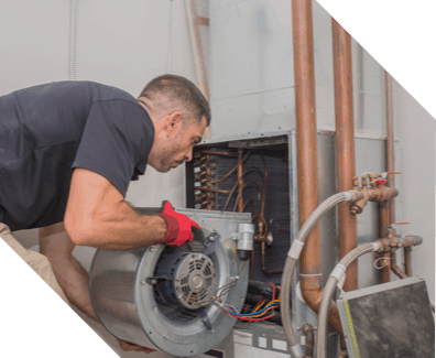 man installing HVAC system