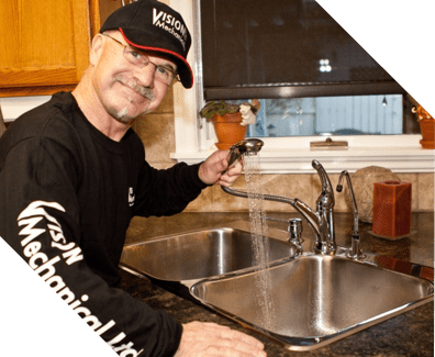 vision plumbing repairing sink