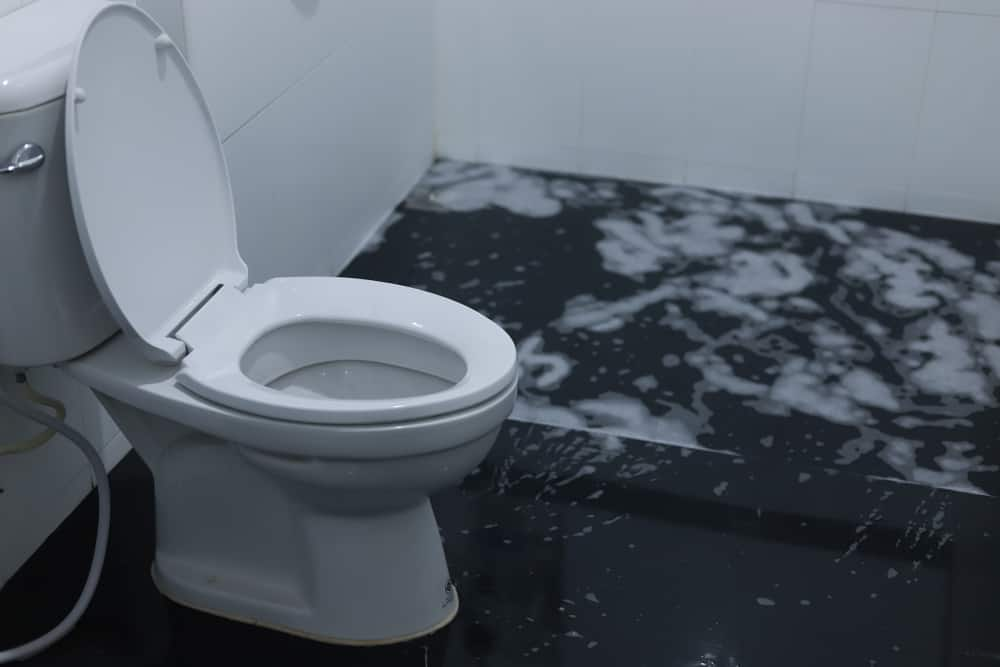 restaurant toilet overflowing